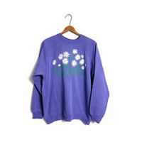 80s DAISIES Sweatshirt Purple Raglan Novelty Sweater Daisy Flowers 1980s Girl Hipster Grunge Sweatshirt Large
