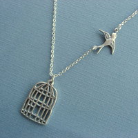 Silver Birdcage Necklace With Free Flying Sparrow by DevinMichaels
