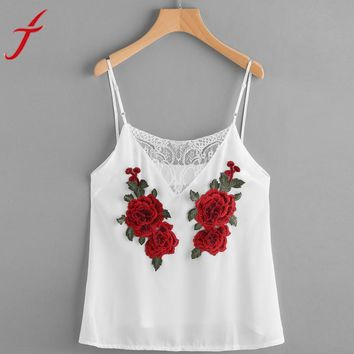 Rose Embroidery Cami Women 2017 Summer Sexy V-Neck Lace Patchwork Insert Top Solid White Tee Shirt Femme Camisole