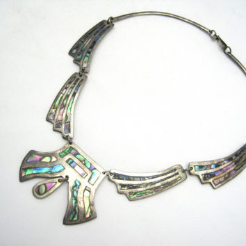 Abalone Necklace - Alpaca Silver, Mexican Jewelry