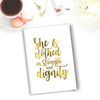 She Is Clothed in Strength and Dignity Diet and Fitness Journal | 6 x 9