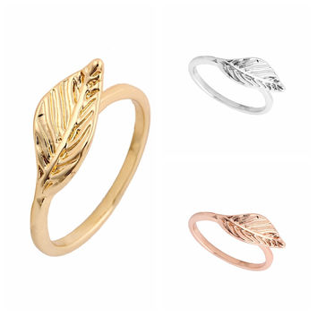 Copper Leaf Ring Vintage Ring Textured Ring for Women Simple Elegant Dainty