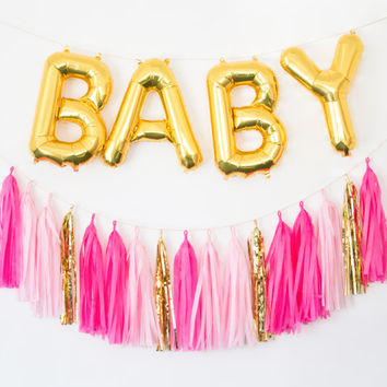 BABY Gold Letter Balloons and Custom Tassel Garland  baby shower decor, baby shower banner, birthday party banner, gold mylar balloons