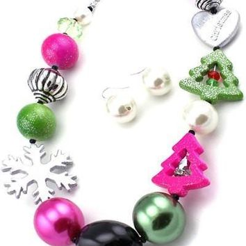 Christmas necklace set and Hook Earring