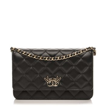 CHANEL Lambskin Quilted Emoticon Wallet On Chain WOC Black