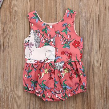 Baby Clothing Newest Newborn Baby Girls Flower Unicorn Print Romper Summer Sleeveless Jumpsuit Outfits Cute Romper