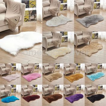 40x60cm Sheepskin Fluffy Skin Faux Fur Fake Rug Mat Rugs For Living Room Bedroom Sofa Floor