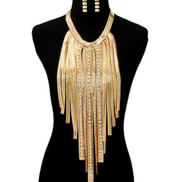 RHINESTONE OMEGA DROP MULTI-CHAIN Statement Necklace & Earrings SET