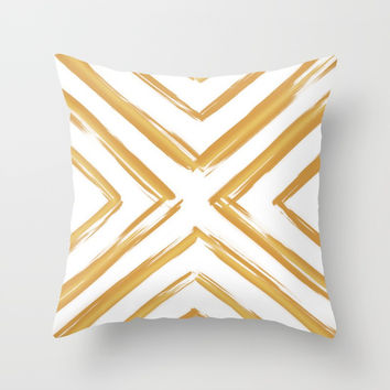 Minimalistic Gold Paint Brush Triangle Diamond Pattern Throw Pillow by AEJ Design