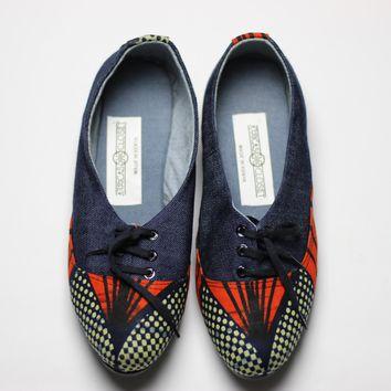 African Print /Ankara Flat Shoes (with laces) Denim detail- Red and Navy Blue Floral Print.
