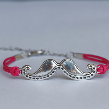 Mustache Bracelet, Moustache Bracelet, Hot Pink Wax Rope, Personalized Friendship Graduation Birthday Christmas Gifts