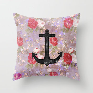 Vintage Nautical Anchor Purple Pink Floral Pattern  Throw Pillow by Girly Trend | Society6