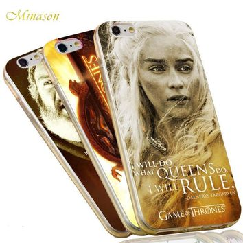 Minason Jon Snow Stark Sexy Daenerys The Game of Thrones Case For iPhone X 8 5 5S SE 6 6S 7 Plus Soft Silicon Anti-knock Cover