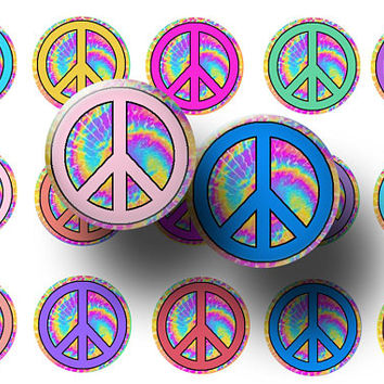 Peace signs bottle cap images - Peace signs 1 inch circles - Peace signs digital collage sheet - Magnets - Badge reels - Key chains