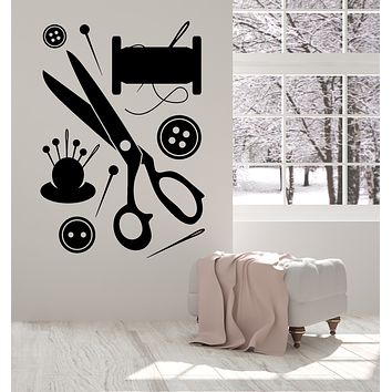 Vinyl Wall Decal Sewing Atelier Scissors Button Needle Threads Stickers Mural (g192)