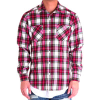 Side Zip Flannel Button Down In Red/White