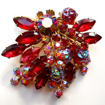 Red Rhinestone  & AB Cluster Brooch, Lava Glass, Vintage