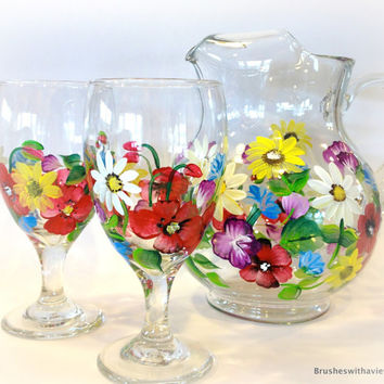 Hand Painted Pitcher Iced Tea Sangria Set of 3
