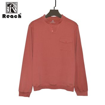reach Men T Shirt Cotton Long Sleeve V Neck 4xl WIth Pocket Solid T Shirt Men Tops Hombre WorkWear High Quality New
