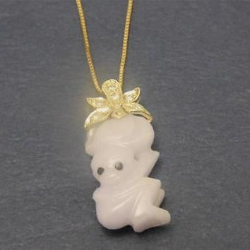 NATURAL LAVENDAR JADE JADEITE MONKEY CARRY PEACH DIAMOND PENDANT 14K YELLOW GOLD