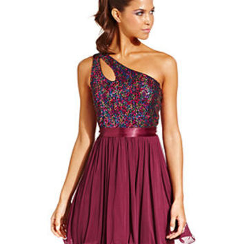 Sequin Hearts Juniors Dress, Sleeveless Sequin Cutout One-Shoulder - Juniors Homecoming Dresses - Macy's