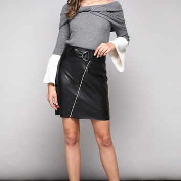 Faux Leather Front Zipper Skirt