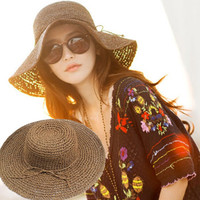 Women Summer Textured Straw Beach Cap Panama Flat Top Wide Brim Travel Hat