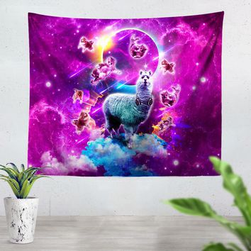 Llama And Kitties Tapestry