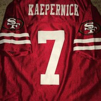 Sale!! Vintage SAN FRANCISCO Sf 49ers Football Jersey NFL T shirt #7 Colin Kaepernick