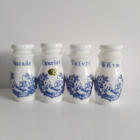 Old four spice pots on Italian opaline glass. French vintage