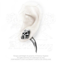 Alchemy Gothic The Alchemist Horn Skull w/ Rose Earring