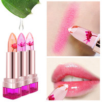 2016 New Chrysanthemum Temperature Change Color Lip Balm Waterproof 3Color Sweet Jelly Flower Pink Lipstick Moisturizer Lip Care