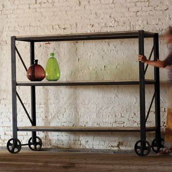 Giants Wood and Iron Rolling Shelving Unit