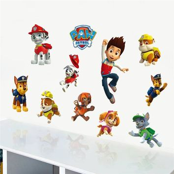 Cartoon Movie Clever Police Dog Wall Stickers For Kids Room