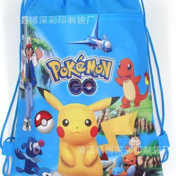 12Pcs Pokemon Go Cartoon Kids Drawstring Printed Backpack Shopping School Traveling Party Bags Birthday Gifts
