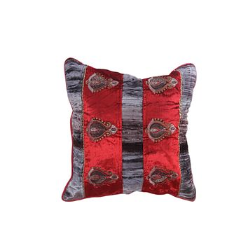Set Of 5 Royal Red and Silver Velvet Cushion Cover with Golden work