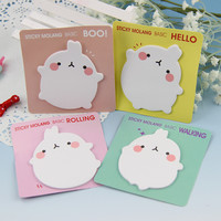 1PC Office Stationery Molang Rabbit Memo Pad Sticker Kawaii N Times Label Notepad Post It Flags Sticky Note