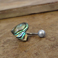 Paua Shell Heart Belly Button Jewelry Ring