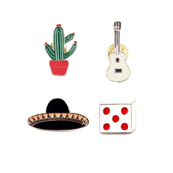 Potted Plant Black Hat Guitar Dice Pins Brooch Badge Pin Button Clothing Collar Lapel Funny Jewelry Gifts for Women Men Friends