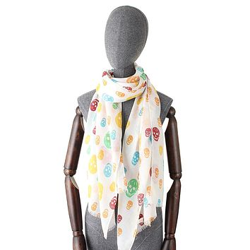 Colorful Skull Print Cotton Women Thin Long Scarf