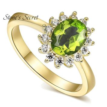 Precious 1.2ct 100% Natural 6X8 Oval Natural Manchurian Peridot With 1.50ctw CZ 18k Gold Plated Wedding Ring Fine Jewelry Gift
