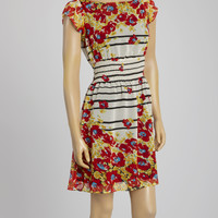 Red & Yellow Floral Cap-Sleeve Dress