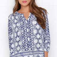 I. Madeline Big Island Navy Blue and Ivory Print Top