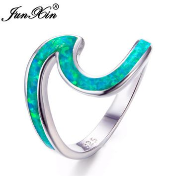JUNXIN New Stylish Green Fire Opal Wave Rings For Women Unique 925 Sterling Silver Filled Best Engagement Jewelry Gifts RS0200