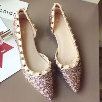 New middle side empty rivet color sequins with low heels and vintage women's single shoes