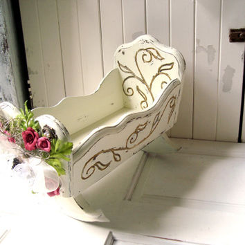 Vintage Doll Cradle, Children's Ornate Wooden Toy Cradle, Shabby Chic Cream Ornate Cradle with Flowers, Pearls and Bow, Cottage Chic Decor