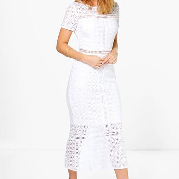 Boutique Odette Crochet Midi Dress | Boohoo
