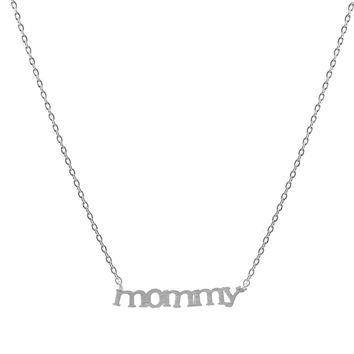 Handcrafted Brushed Metal Mommy Script Necklace