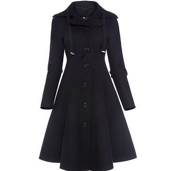 Black vintage gothic a line overcoat