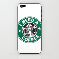 STARBUCKS - I need a coffee! iPhone & iPod Skin by John Medbury (LAZY J Studios)